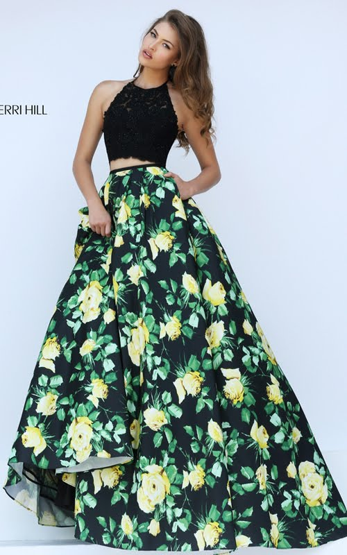 52108cc1fdf Strapless Prom Dress With Yellow Flowers