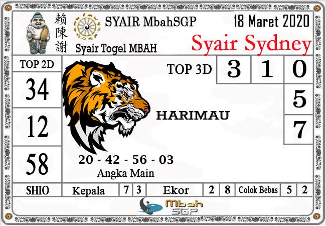 Prediksi Togel JP Sydney Rabu 18 Maret 2020 - Syair Mbah SD