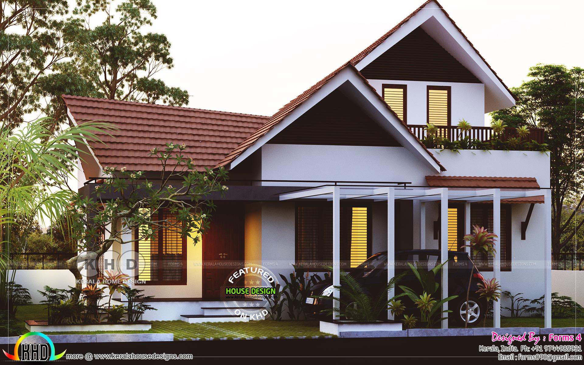 1800 Square Feet 3 Bedroom Sloped Roof Home Kerala Home