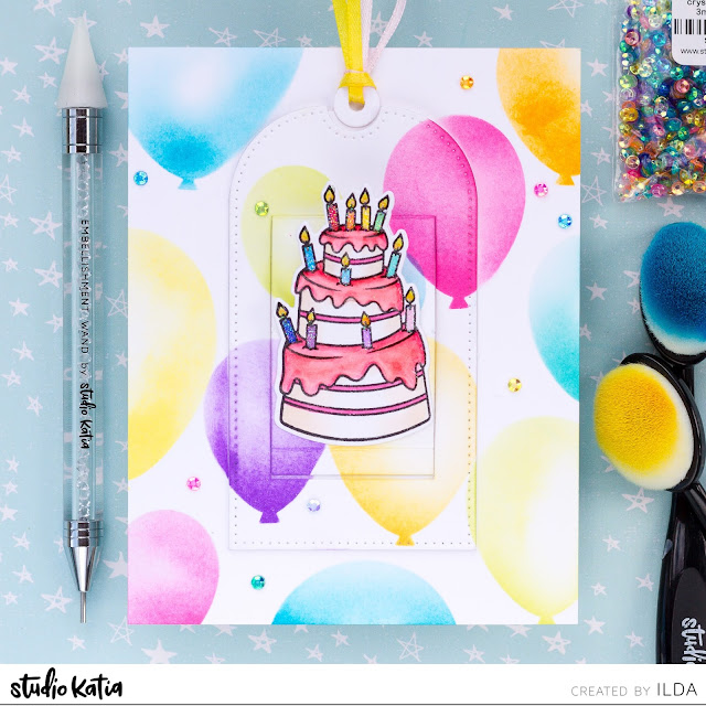 birthday, interactive card, Slider, Studio Katia, Surprise, Birthday Cake, Balloons, distress oxide inks, Ink Blending, Card Making, Stamping, Die Cutting, handmade card, ilovedoingallthingscrafty, Stamps, how to,