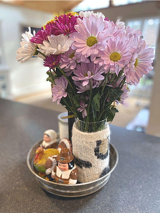 sweater vase in a galvanized centerpiece for thanksgiving