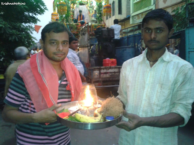 Image: Balaji Devotees with Arti Thali and Prasad