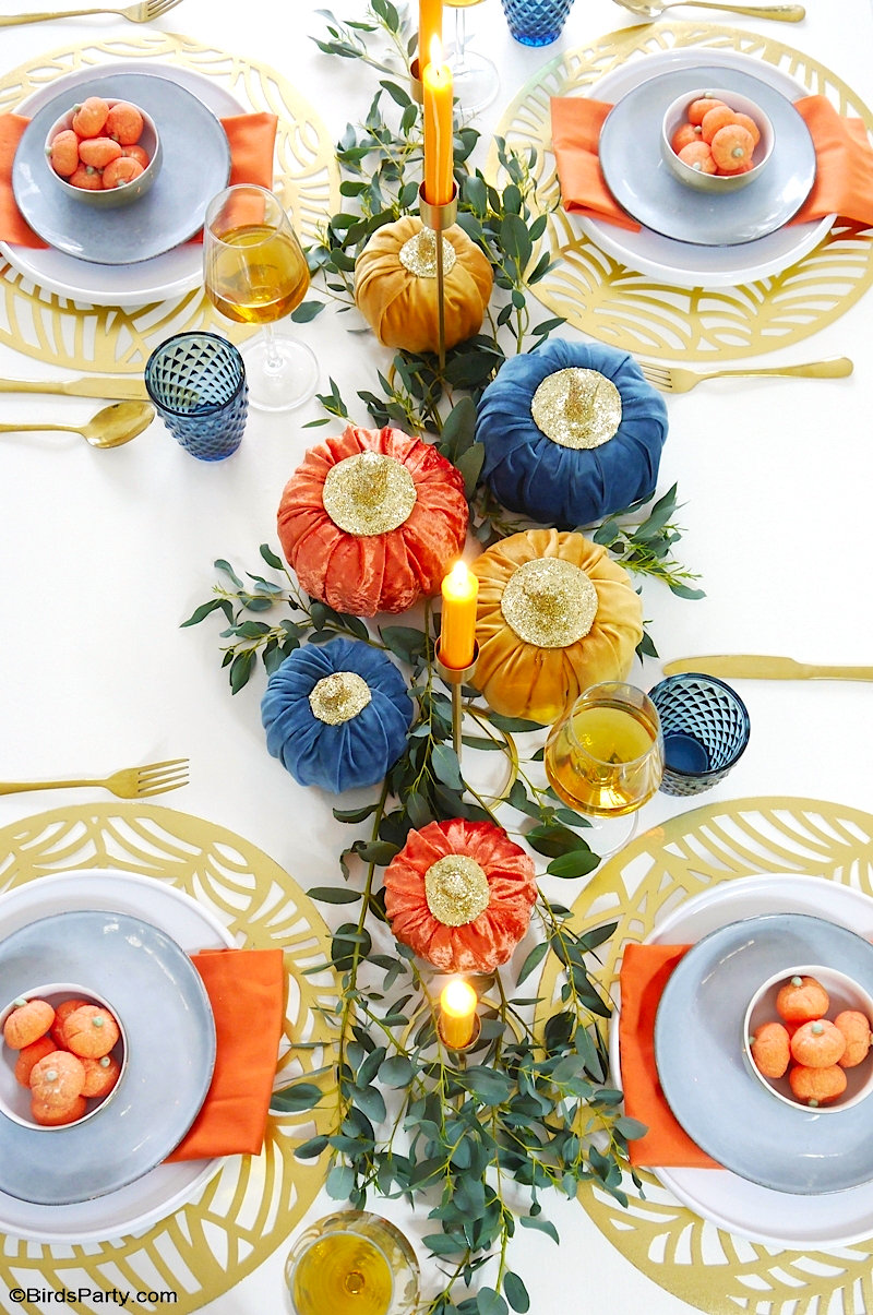 Décor de Table Modern Pour L'Automne - idées faciles et rapides décorations de table DIY contemporaine pour les fêtes automnales! by BirdsParty.com @birdsparty #decortable #table #tableautomne #decorationdetable #tableautomnale