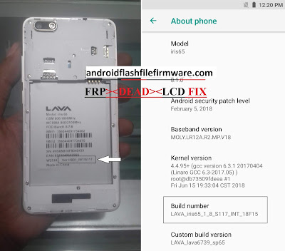 Lava Iris 65 Flash File MT6739 Frp Dead & Hang Logo Fix Firmware