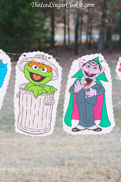Sesame Street Birthday Party Flag Hanging Bunting Garland Banner DIY Idea- Big Bird, Cookie Monster, Oscar The Grouch, The Count, Elmo, Bert and Ernie,Grover