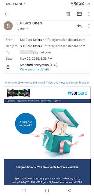 BigBasket SBI Card Offer