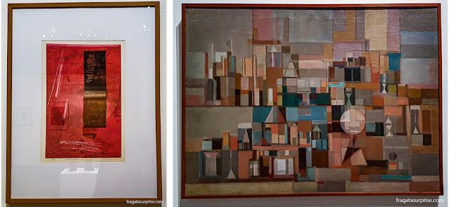 """""""9301"""" (1993), de Fayga Ostrower, e """"Os Jogos e os Enigmas"""" (1956), de Maria Leontina"""
