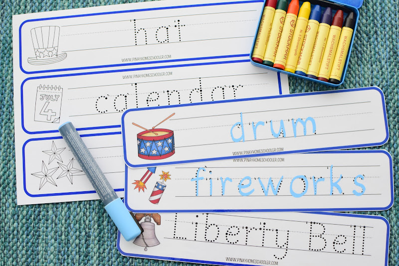 4th of July Vocabulary Writing and Coloring Strips