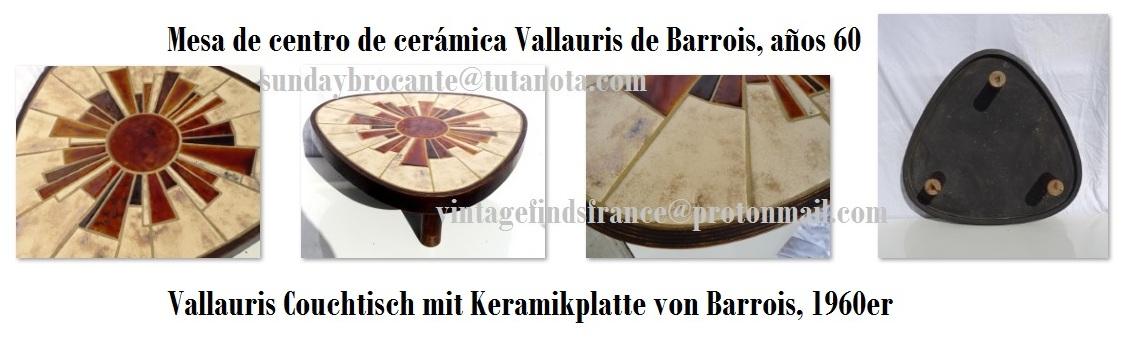 Triangular Vallauris Ceramic Coffee Table from Barrois, 1960s, Mesa de centro triangular de cerámica Vallauris de Barrois, años 60, Dreieckig Vallauris Couchtisch mit Keramikplatte von Barrois, 1960er