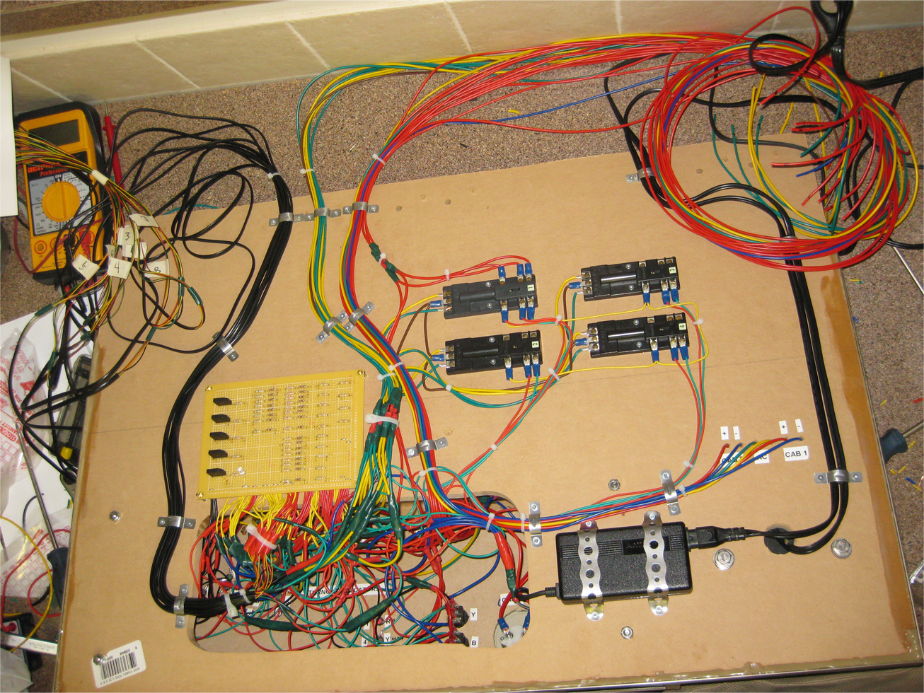 Wiring Atlas snap relays and other components together inside a model railroad control panel