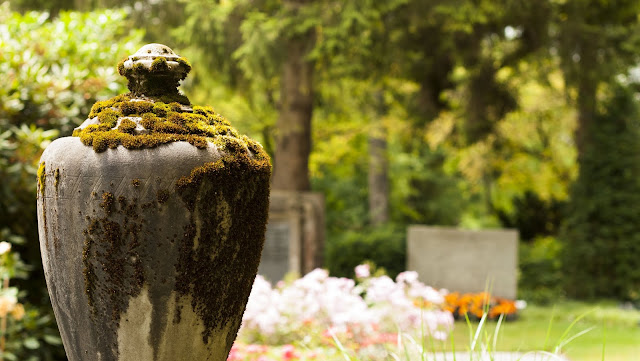Places to Visit in Zurich in One Day with a ZVV Day Pass: mossy urn in Friedhof Fluntern
