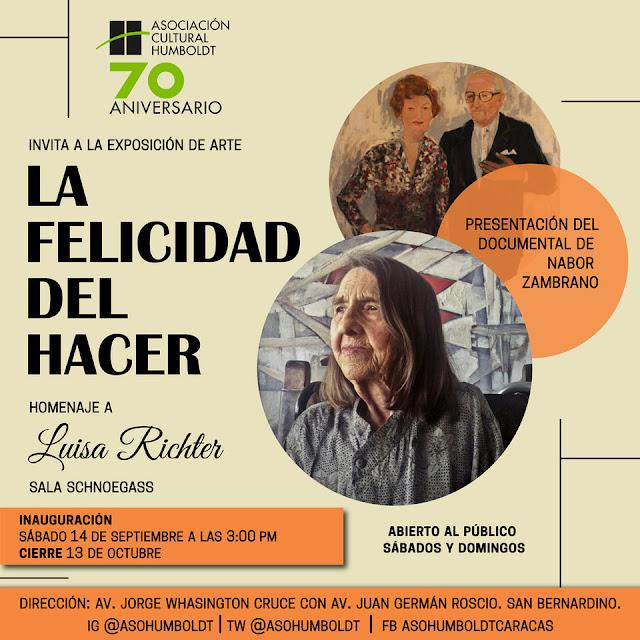 ARTE: Asociación Cultural Humboldt inaugura exposición homenaje a Luisa Richter en Caracas.