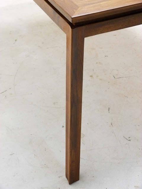 Edward J Wormley Modern Walnut Dining table by Dunbar Corner Detail Left Leg