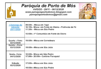 Avisos Paroquiais - 28/11 a 06/12/2020