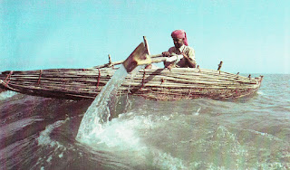 palm frond bundle boat, Oman