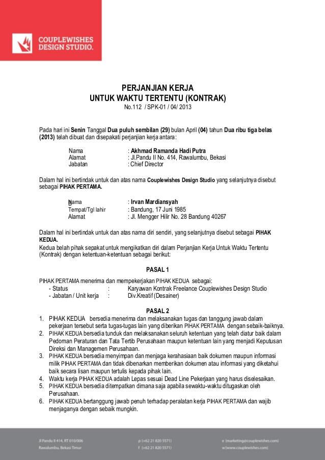 contoh surat kontrak kerja proyek