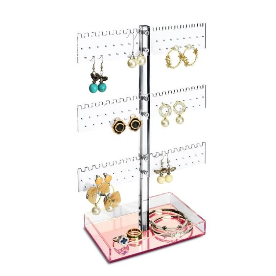 #JWY609-3PK Clear Acrylic Display with Rose Gold Mirrored Storage Base