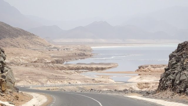 Lake Assal is located in the middle of Djibouti