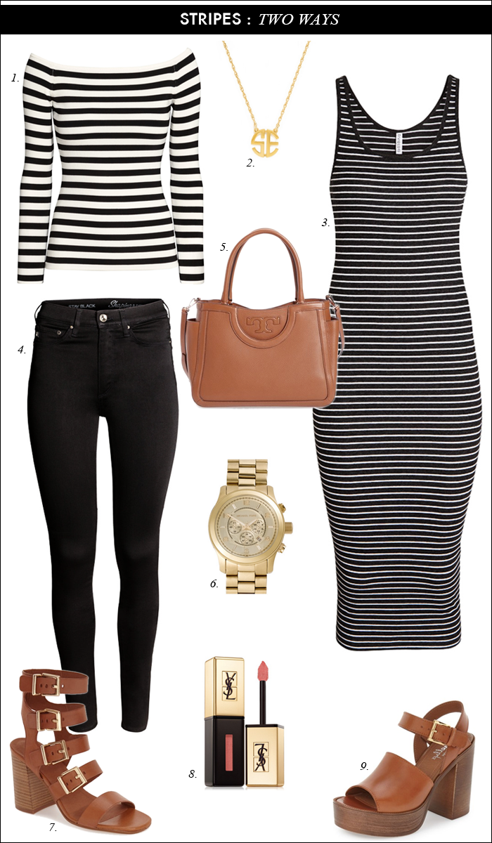 summer outfit, casual work outfit, striped dress, tory burch satchel, monogram necklace