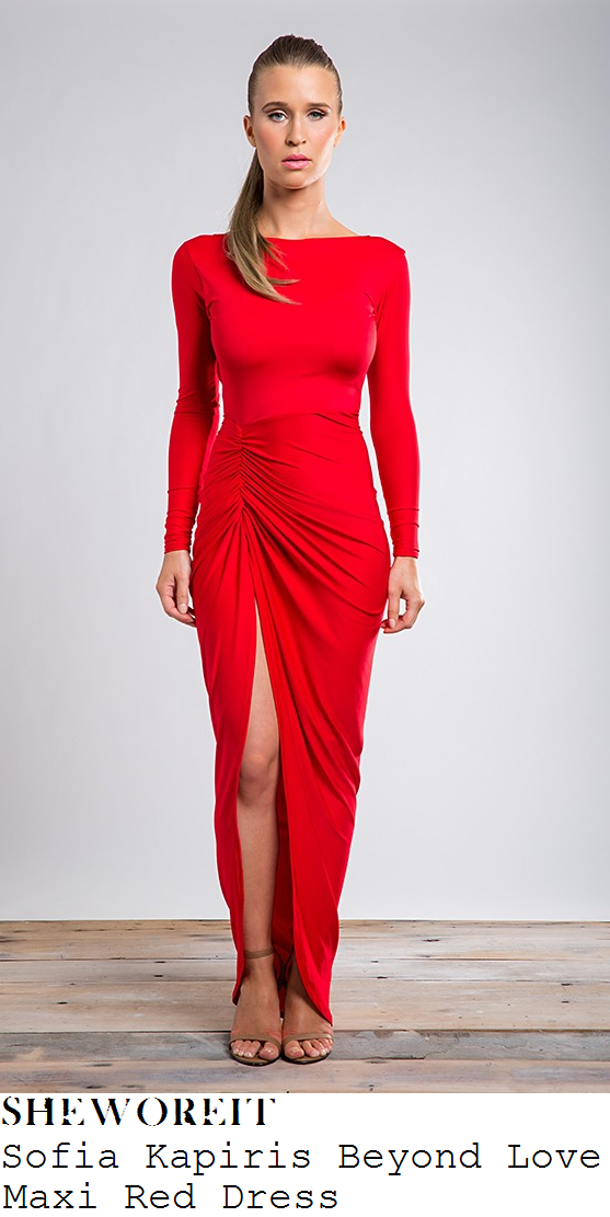 121c68174 Lauren Pope's Sofia Kapiris Beyond Love Bright Red Long Sleeve Ruched  Jersey Bodycon Maxi Dress With Thigh High Split To Front & Curved Hem