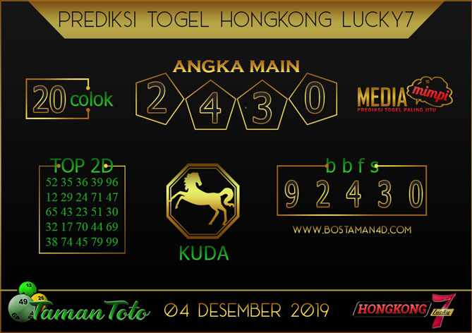 Prediksi Togel HONGKONG LUCKY 7 TAMAN TOTO 04 DESEMBER 2019