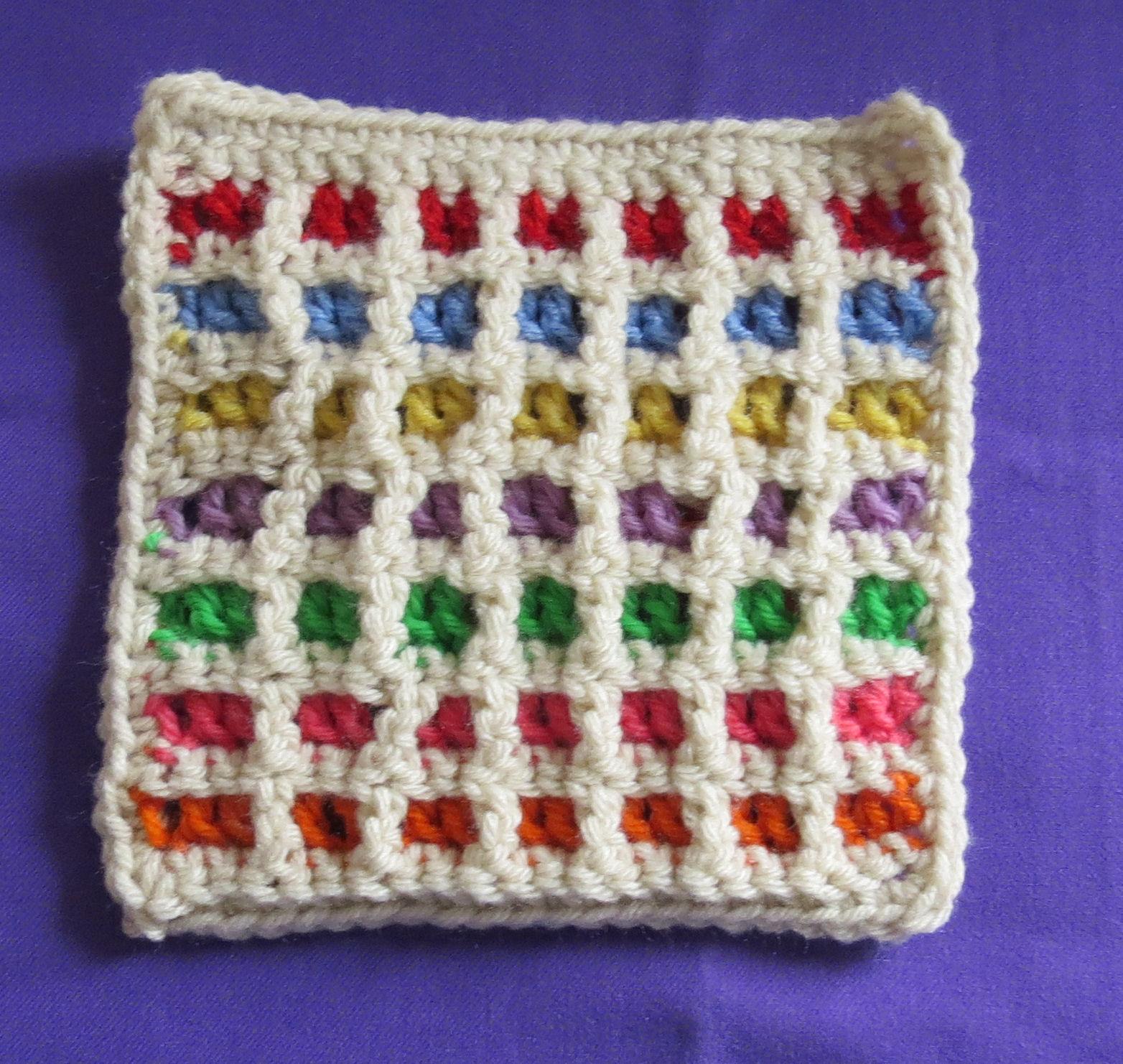 windowpane crochet swatch