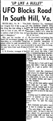 UFO UFO Blocks Road in South Hill, Va - Charleston Daily Gazette 4-22-1967
