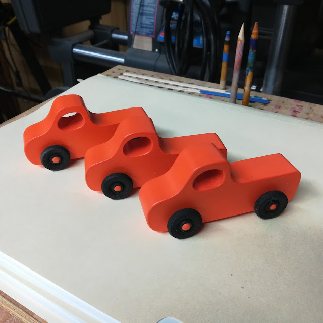 Handmade Wood Toy Toy Pickup Truck Pumpkin Orange and Black