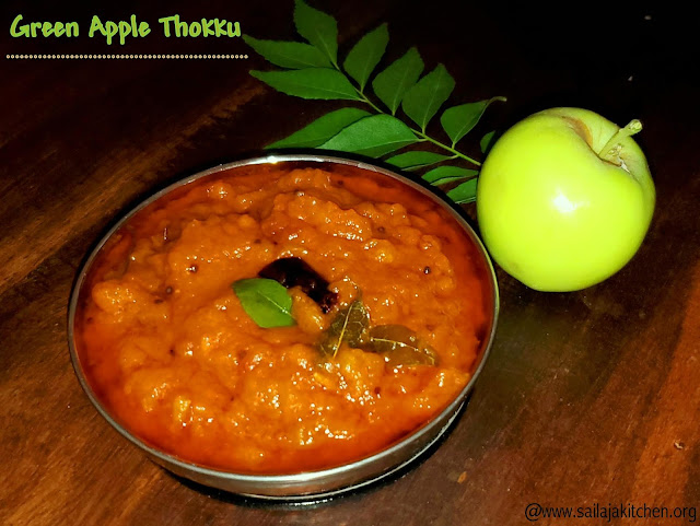 images of Green Apple thokku / Apple Thokku / Spicy Apple Thokku / Indian Style Spicy Relish