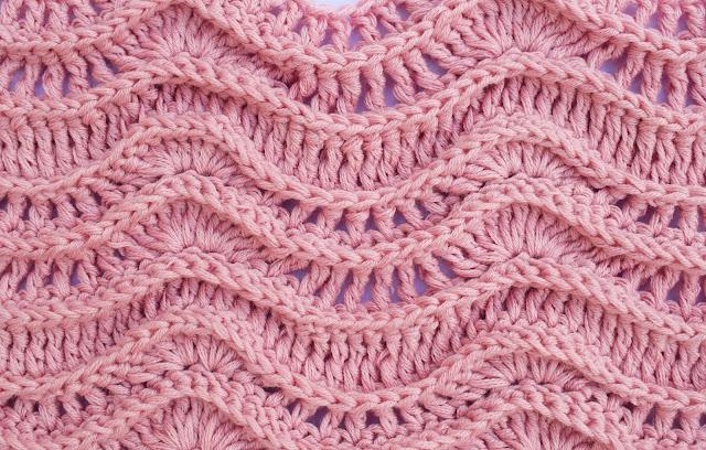 Crochet Imagen Puntada rosa de ondas en relieve a crochet y ganchillo por Majovel Crochet