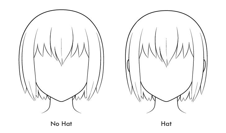 Topi volume rambut anime vs tanpa topi