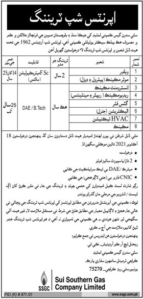 Sui Southern Gas Company Limited Jobs 2021 For Internees