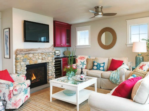 Beige, red and aqua coastal living room -shop the look!