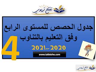 جدول الحصص للمستوى الرابع وفق التعليم بالتناوب للموسم الدراسي 2020-2021