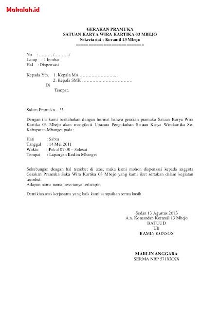Contoh Surat Izin Sekolah untuk Kegiatan  (via: makalah.id)