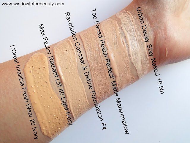 L'Oreal Paris Infallible Fresh Wear vs Revolution swatches