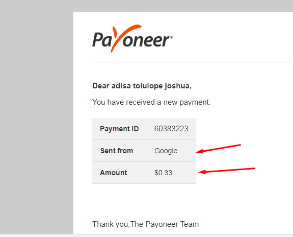 money sent from google to your payoneer account notification