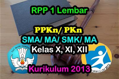 RPP 1 Lembar PKn SMA SMK Kurikulum 2013 Revisi 2020
