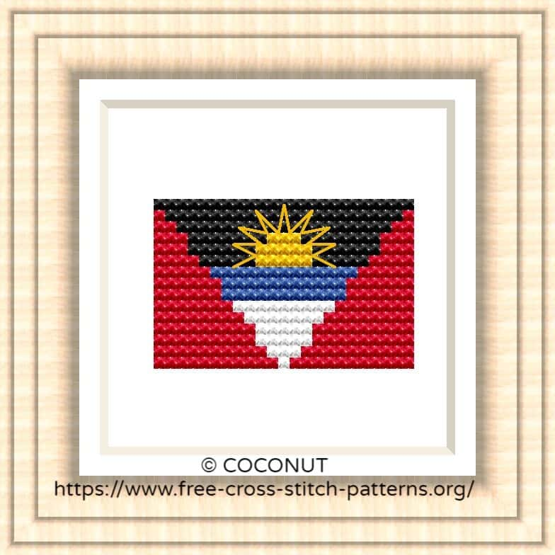 NATIONAL FLAG OF ANTIGUA AND BARBUDA CROSS STITCH CHART