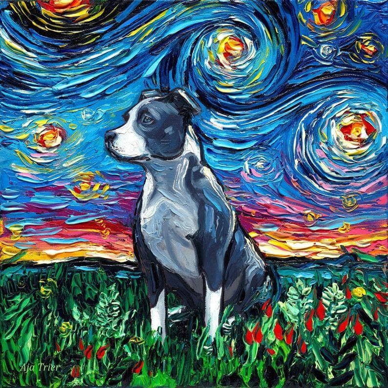 15-Pitbull-Aja-Trier-The-Starry-Night-Dog-Paintings-www-designstack-co