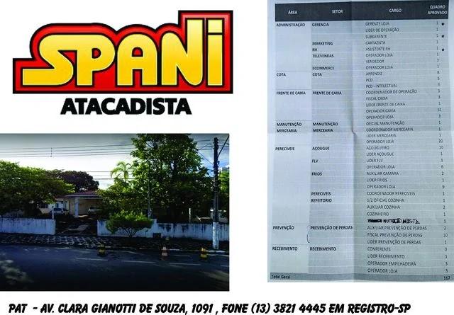 Vagas de Emprego no Spani  em Registro-SP