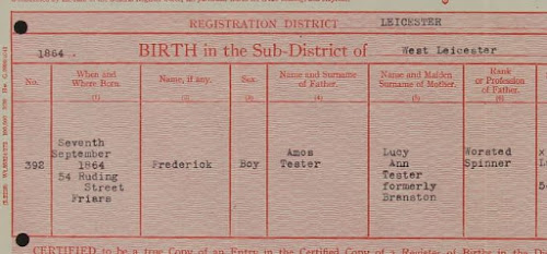 Birth Registration extract for Frederick Tester - 7 September 1864 in West Leicester (from Tester's MI5 file at Kew)