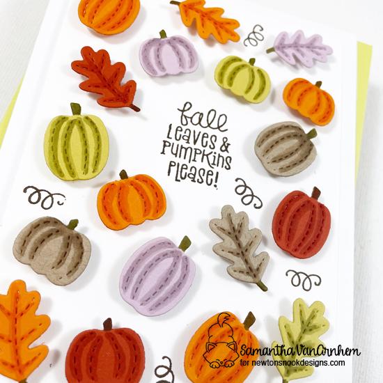 Fall Pumpkins Card by Samantha VanArnhem | Signs of Stamp Set and bonus die cuts from the Fall Friends Die Set by Newton's Nook Designs #newtonsnook
