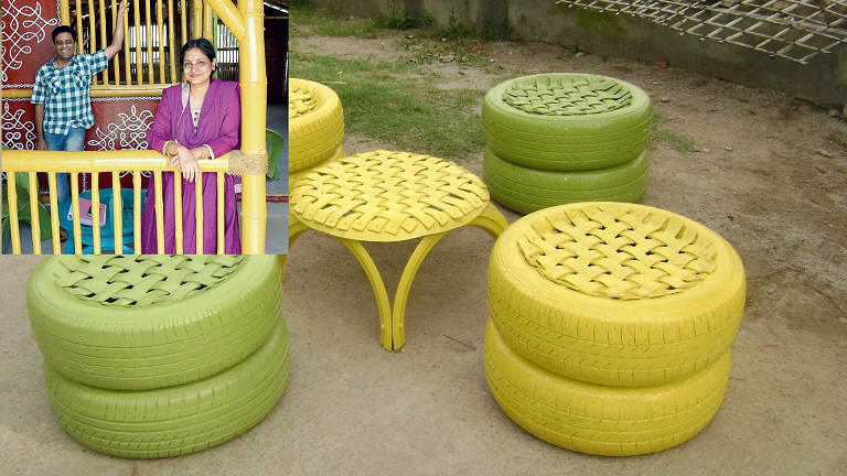 Garden decoration used waste tyre, creative ideas from waste material