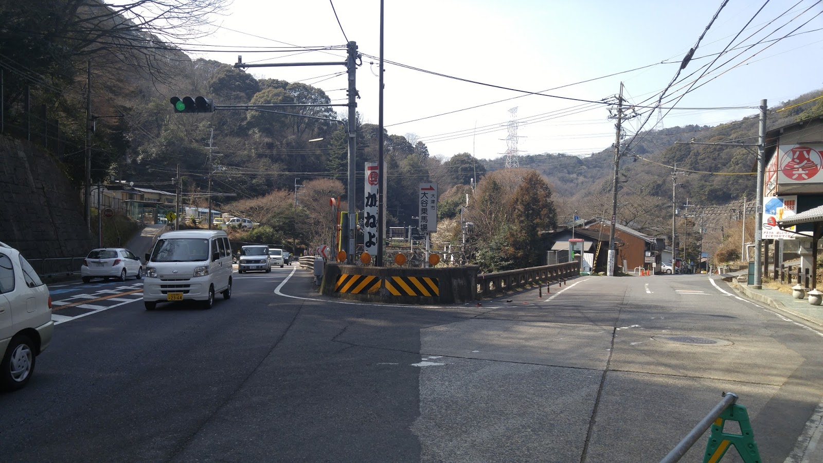 navigator  osaka or meeting slope between kyoto and otsu the smaller road to the right is a section left of the old tokaido
