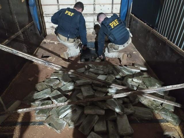 PRF apreende 276 Kg de cloridrato de cocaína em Mundo Novo (MS)