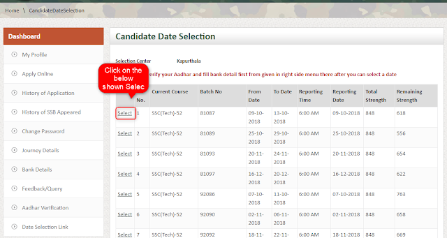 Preferred date selection on JoinindianArmy interface