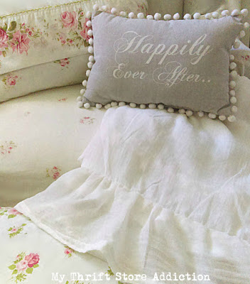 DIY ruffled linen gauze throw