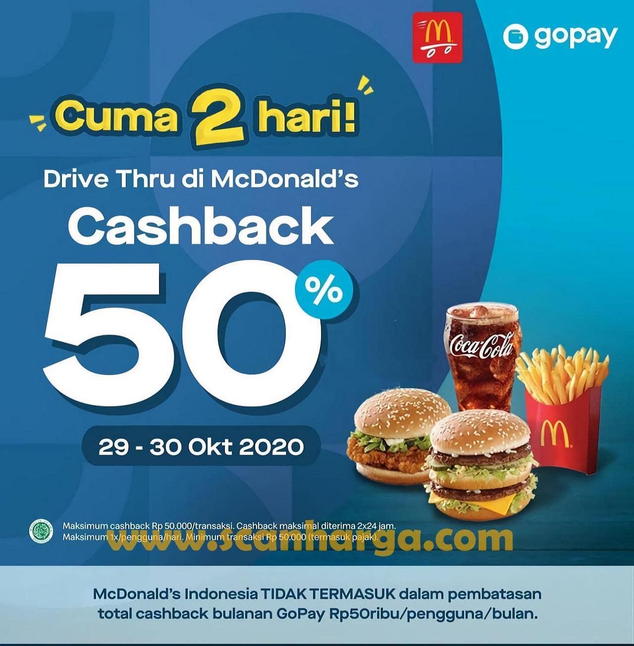Promo McDonalds Drive Thru Cashback 50% khusus Pembayaran dengan GOPAY
