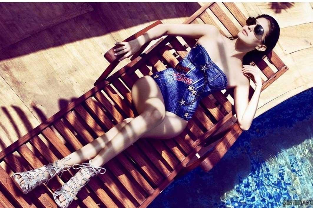Amyra Dastur in Black Lingerie blue Bikini